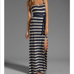 LA Made navy/tan Stripe Maxi Dress